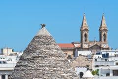 Panoramiczny widok Alberobello Puglia Włochy Zdjęcia Stock