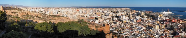 Panoramiczny widok Almeria, Andalucia zdjęcia stock