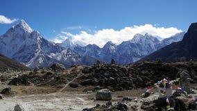 Panoramiczny widok Ama Dablam 6,170m i Khumbu dolina zbiory wideo