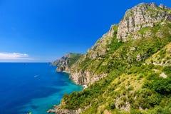 Panoramiczny widok Amalfi wybrzeże w Włochy fotografia stock