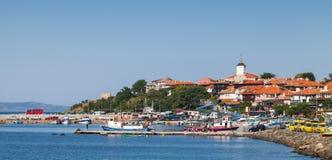 Panoramiczny widok antyczny miasteczko na Czarnym Dennym wybrzeżu Nesebar Fotografia Royalty Free