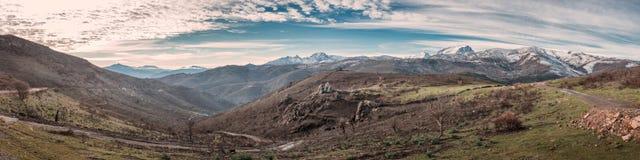 Panoramiczny widok Asco góry Padru w Corsica i Monte Fotografia Stock