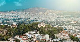 Panoramiczny widok Ateny Zdjęcie Stock