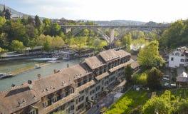 Panoramiczny widok Bern i kolej, Szwajcaria, Europa Fotografia Stock