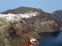 Panoramiczny widok Biały miasteczko Budował na kalderze Santorini wyspa, Grecja, Europa fotografia stock