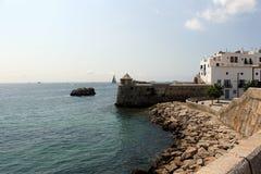 Panoramiczny widok bolwerk w porcie turystyczny miasto Ibiza zdjęcia royalty free
