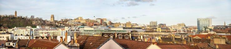 Panoramiczny widok Bristol centre linia horyzontu, Anglia obrazy royalty free