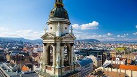 Panoramiczny widok Budapest od Świątobliwej Stephens bazyliki, Węgry zdjęcie stock
