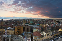 Panoramiczny widok Cagliari śródmieście przy zmierzchem w Sardinia Obraz Royalty Free
