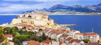 Panoramiczny widok Calvi, Corsica wyspa - obraz royalty free