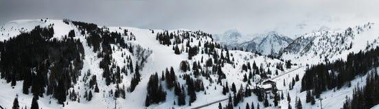 Panoramiczny widok Campolongo przepustka Dolomitów Alps Sella Ronda Włochy Obrazy Royalty Free