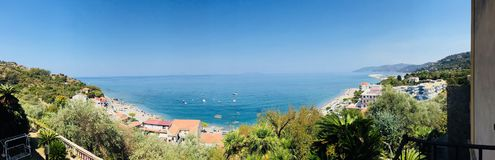 Panoramiczny widok Capo d ` Orlando, Sicily Zdjęcie Stock