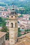 Panoramiczny widok CastellArquato. emilia. Włochy. Obraz Royalty Free