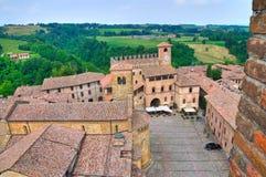 Panoramiczny widok CastellArquato. emilia. Włochy. Obrazy Royalty Free