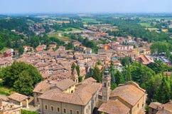 Panoramiczny widok CastellArquato. emilia. Włochy. Fotografia Royalty Free