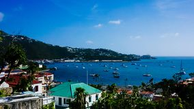 Panoramiczny widok Charlotte Amalie, USVI obraz stock