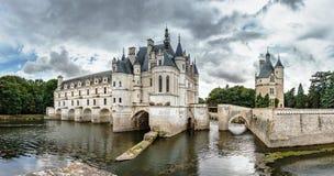 Panoramiczny widok Chenonceau kasztel w Francja Obraz Stock