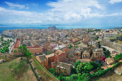 Panoramiczny widok Corfu miasteczko Zdjęcia Royalty Free