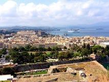Panoramiczny widok Corfu miasteczko Obraz Royalty Free