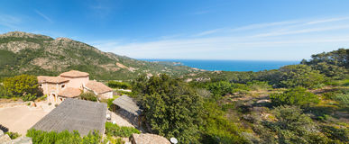 Panoramiczny widok Costa Smeralda linia brzegowa Zdjęcia Royalty Free