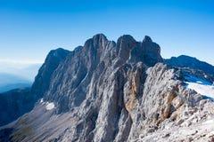 Panoramiczny widok Dachstein lodowiec i otaczające góry, S obrazy stock