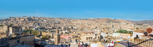 Panoramiczny widok dachy fez Medina fez Morocco Fotografia Stock