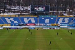 Panoramiczny widok Dinamo drużyny futbolowej Kijowski stadium obraz stock
