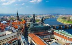 Panoramiczny widok Drezdeński miasto od lutheran kościół, Niemcy obrazy royalty free