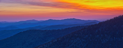 Panoramiczny widok Dymiący góra park narodowy fotografia stock
