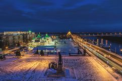 Panoramiczny widok dziejowa część Nizhny Novgorod, wystawa dom Zdjęcie Royalty Free
