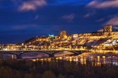 Panoramiczny widok dziejowa część Nizhny Novgorod z Kremlin Fotografia Royalty Free