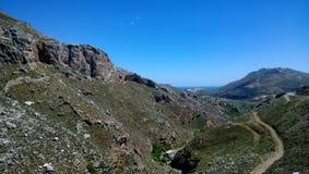 Panoramiczny widok elewacja przy Kourtaliotiko wąwozem na Crete wyspie zdjęcie stock