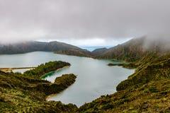 Panoramiczny widok Fogo jezioro w Sao Miguel wyspie, Azores, Portug zdjęcia stock