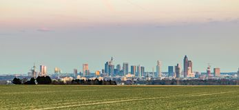 Panoramiczny widok Frankfurt linia horyzontu Zdjęcie Royalty Free