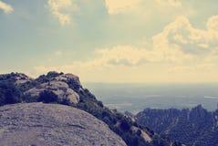 Panoramiczny widok góra krajobraz; filtrujący, retro styl, Zdjęcia Royalty Free