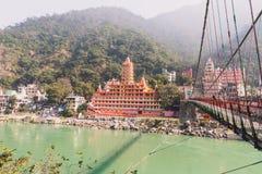 Panoramiczny widok Ganga rzeka od Lakshman Jhula zawieszenia mosta Obraz Royalty Free