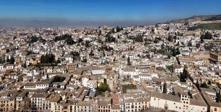 Panoramiczny widok Granada od Ahambra pałac Zdjęcia Royalty Free