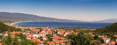 Panoramiczny widok Grecja kurort Stavros Zdjęcia Royalty Free