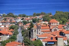 Panoramiczny widok Grecja kurort Stavros Obrazy Stock