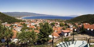 Panoramiczny widok Grecja kurort Stavros Zdjęcia Stock