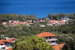 Panoramiczny widok Grecja kurort Stavros Zdjęcie Royalty Free