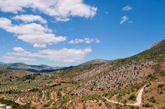 Panoramiczny widok Grecja, śródziemnomorska ziemia Zdjęcia Royalty Free