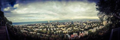 Panoramiczny widok Haifa zatoka Zdjęcia Royalty Free