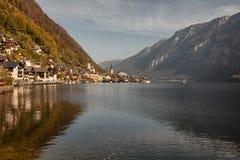 Panoramiczny widok Hallstatt jezioro i miasteczko, Salzkammergut, Austria Fotografia Stock