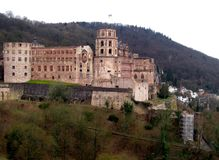 Panoramiczny widok Heidelberg kasztel w Niemcy, Europa obraz stock