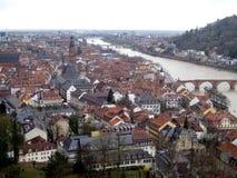 Panoramiczny widok Heidelberg Neckar rzeka fotografia stock