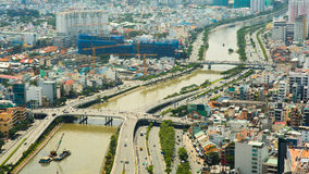 Panoramiczny widok Ho Chi Minh Saigon lub miasto Wietnam Fotografia Stock