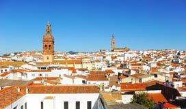 Panoramiczny widok Jerez De Los Caballeros, Jerez De Los Caballeros, Badajoz prowincja, Hiszpania fotografia stock