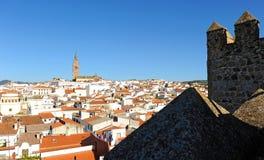 Panoramiczny widok Jerez De Los Caballeros od Alcazaba, Badajoz prowincja, Hiszpania fotografia stock