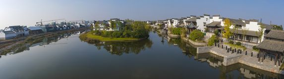 Panoramiczny widok Jiangnan wody miasteczko Zdjęcie Royalty Free